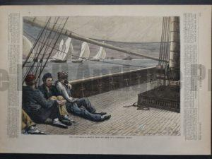 The Yacht Race - A Sketch from the Deck of a Competing Yacht, August 10, 1872. $60.