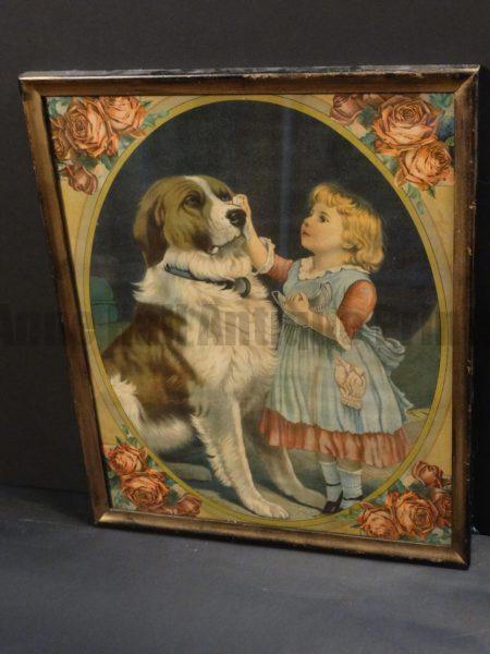"Dog Chromolithograph Saint Bernard Framed ""Trust"". Chromolithograph of St. Bernard done by JAmes Lee, 1904, in Chicago."