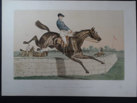 1930's French poster, lithograph. Valentino was a steeplechase hunter horse.
