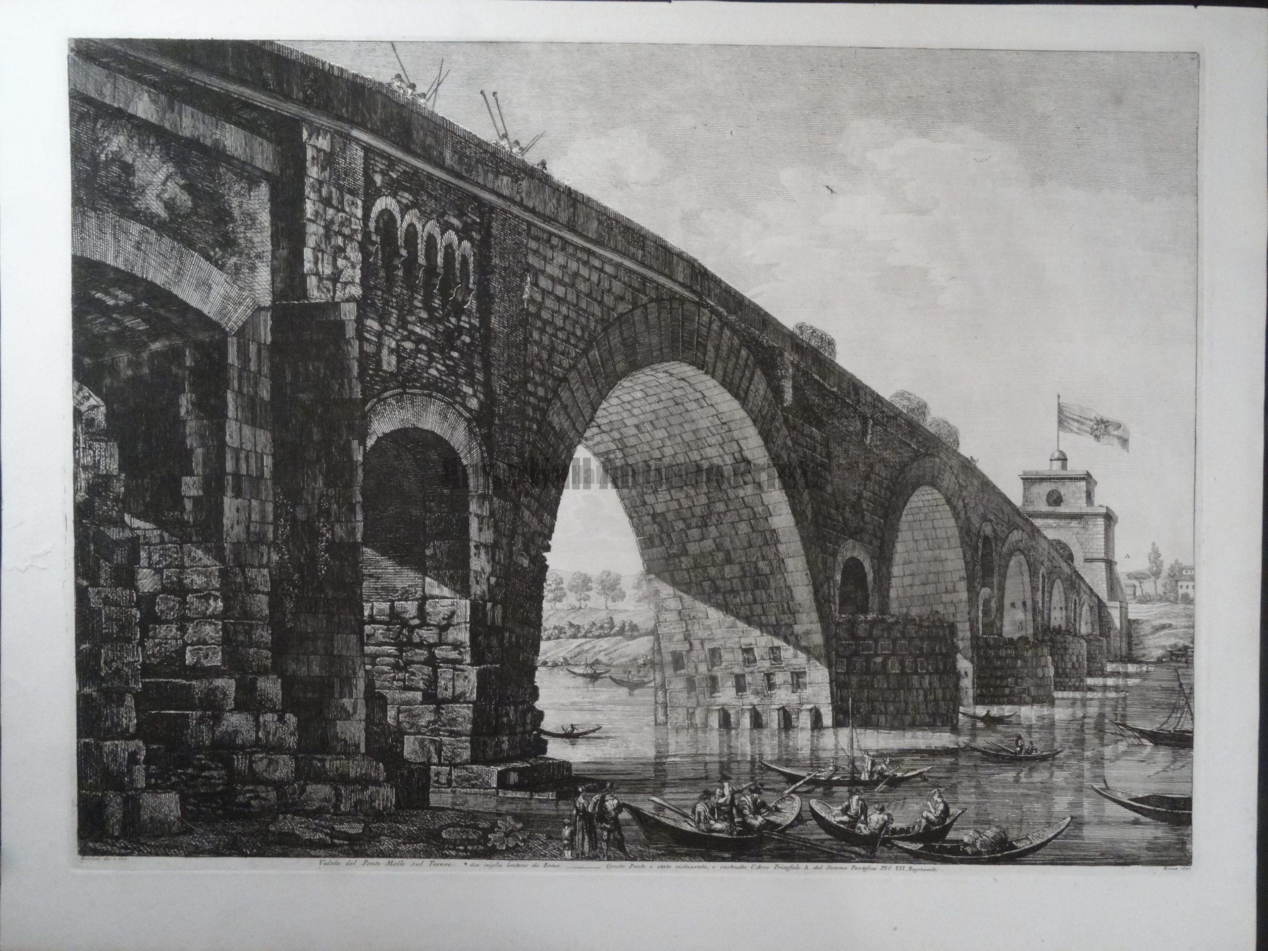 Veduta del Ponte Molle, Roma 1822