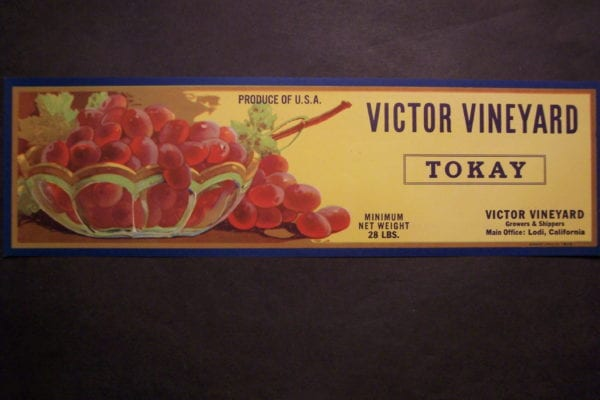 Victor Vineyard Label c.1930. $30.