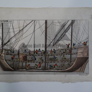Wilhelm Whales T.LXXIL is a sourced bookplate from 1810-1821. The miniature, eighteenth century engraving, depicts interior of a whaling ship & refinery.