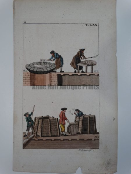 Wilhelm Whales T.LXX. Antique engraving from 1810-1821 showing men aboard whaling ship refining blubber into oil.