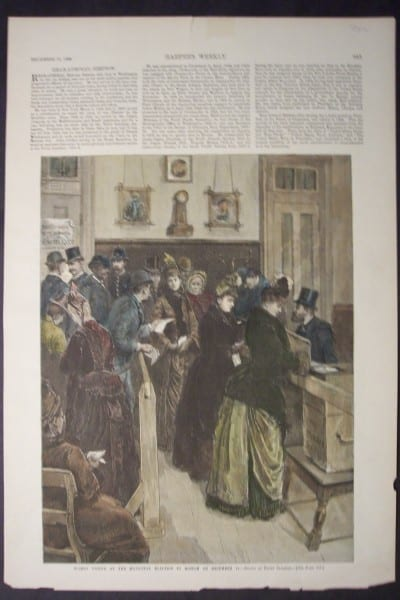 Women Voting at the Municipal Election in Boston on December 11, 1888. $75.