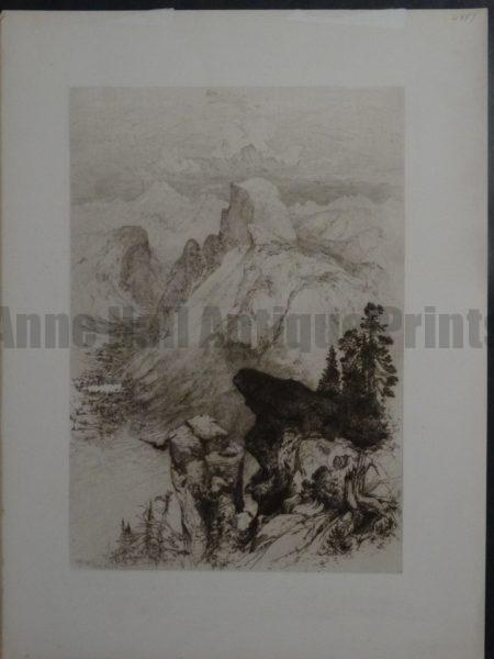 Early Etching of Half Dome at Yosemite National Park