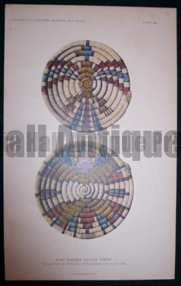American Indian Hopi tribe basket. south western Indian basket Chromolithograph from 1902.