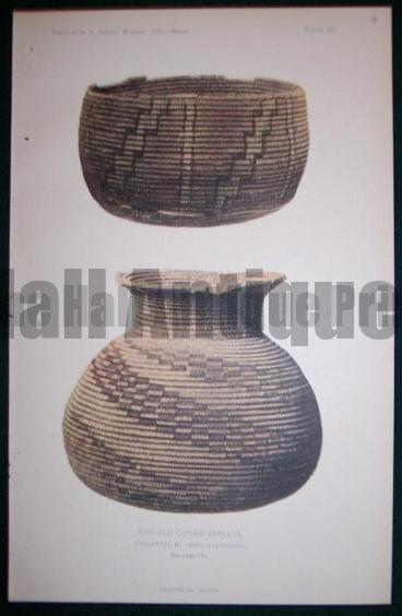 American Indian tribe basket. south western Indian basket Chromolithograph from 1902.