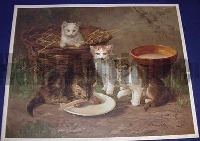 Anxious Moments, an American antique lithograph of DOMESTIC CATS.