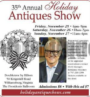 Come to Williamsburg and see one of the finest Antiques Shows in America! Shop and learn from leading dealers.
