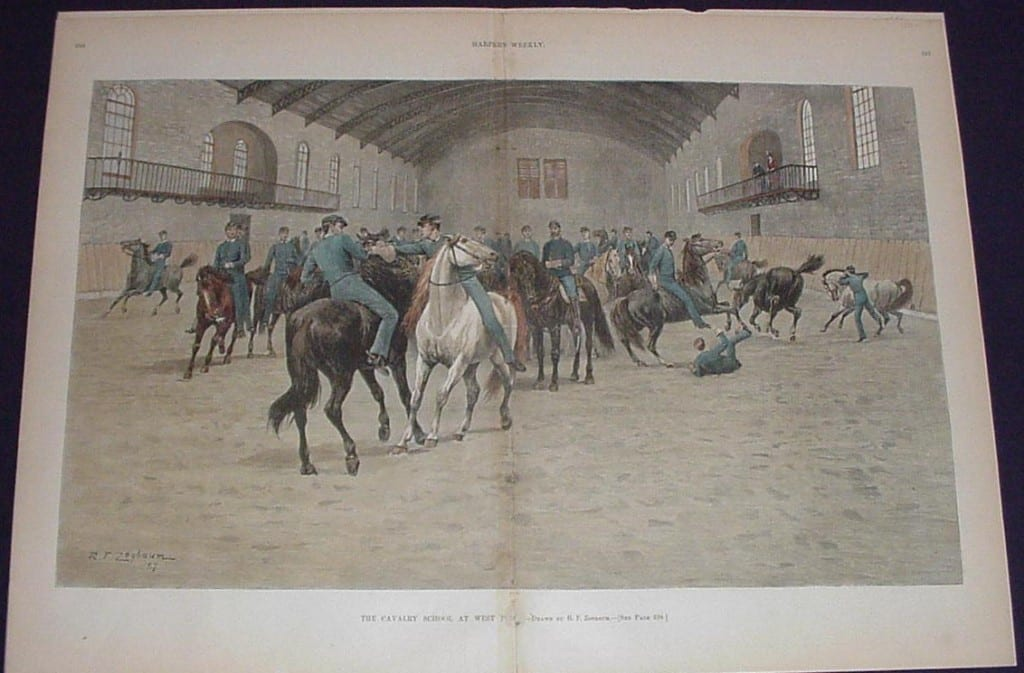 "Horseback training ""Calvary School at West Point"" original engraving from Harper's Weekly by Zogbaum."