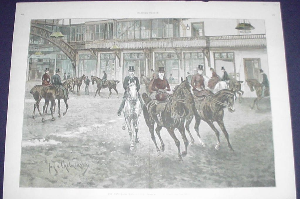 Watercolor halftone from c.1900 of women on horseback riding sidesaddle.