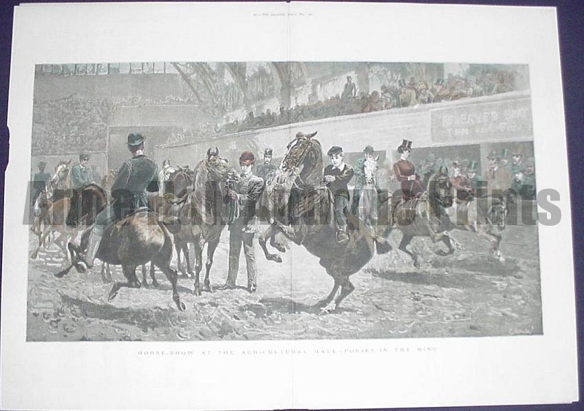 Watercolor halftone engraving circa 1900 of a Horse Show with women riding horses side saddle.